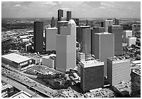 Aerial view of Skyline District. Houston, Texas, USA ( black and white)