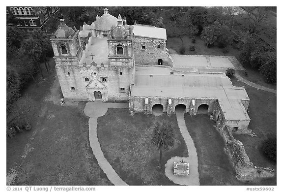 Aerial view of Mission Concepcion. San Antonio, Texas, USA (black and white)