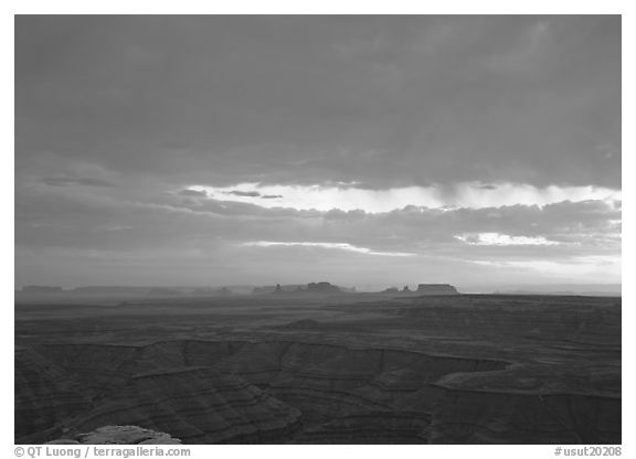 San Juan Canyon and  Monument Valley seen from Muley Point, sunset. Utah, USA (black and white)