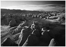 Goblin Valley from the main viewpoint, sunrise, Goblin Valley State Park. Utah, USA (black and white)