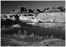 Mesas, Glen Canyon National Recreation Area, Utah. USA ( black and white)