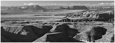 Canyon country scenery. Bears Ears National Monument, Utah, USA (Panoramic black and white)