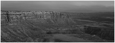 Canyon and cliffs at sunset. Bears Ears National Monument, Utah, USA (Panoramic black and white)