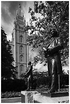 Joseph Smith statue, Temple Square. Utah, USA ( black and white)
