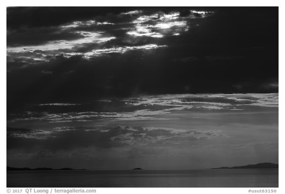 Storm clouds and sunset, Great Salt Lake. Utah, USA (black and white)