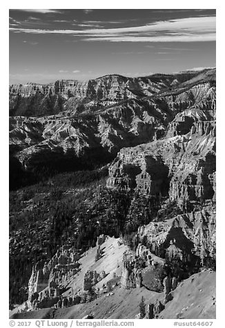 Deep geologic amphitheater from Point Supreme. Cedar Breaks National Monument, Utah, USA (black and white)
