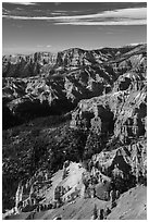 Deep geologic amphitheater from Point Supreme. Cedar Breaks National Monument, Utah, USA ( black and white)