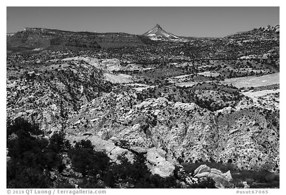 Cockscomb Fault and Mollies Nipple. Grand Staircase Escalante National Monument, Utah, USA (black and white)