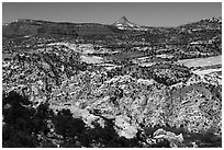 Cockscomb Fault and Mollies Nipple. Grand Staircase Escalante National Monument, Utah, USA ( black and white)