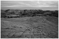 Looking down cross-bedded sandstone from Yellow Rock. Grand Staircase Escalante National Monument, Utah, USA ( black and white)