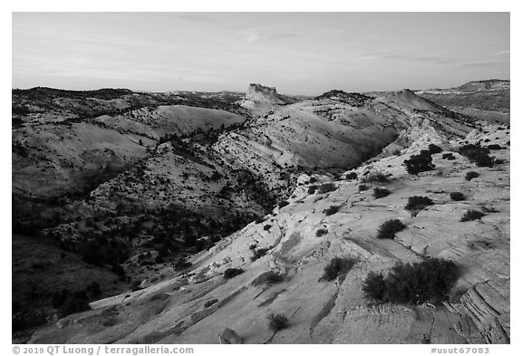 Castle Rock from Yellow Rock, dusk. Grand Staircase Escalante National Monument, Utah, USA (black and white)