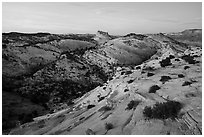 Castle Rock from Yellow Rock, dusk. Grand Staircase Escalante National Monument, Utah, USA ( black and white)