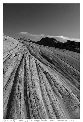 Yellow Rock cross-bedding at night. Grand Staircase Escalante National Monument, Utah, USA (black and white)