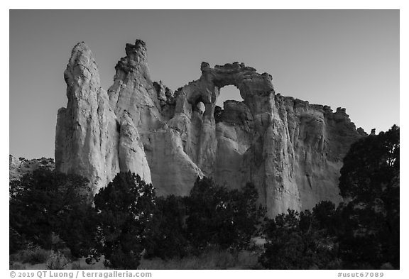 152-foot high Grosvenor Arch, dawn. Grand Staircase Escalante National Monument, Utah, USA (black and white)