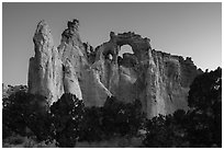 152-foot high Grosvenor Arch, dawn. Grand Staircase Escalante National Monument, Utah, USA ( black and white)