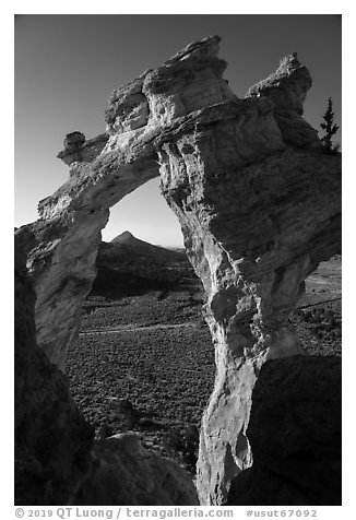 Grosvenor Arch and valley. Grand Staircase Escalante National Monument, Utah, USA (black and white)
