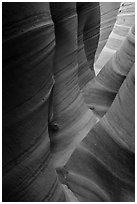 Sandstone with colorful striations, Zebra Slot Canyon. Grand Staircase Escalante National Monument, Utah, USA ( black and white)
