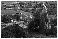 Mononliths and hills, Devils Garden. Grand Staircase Escalante National Monument, Utah, USA ( black and white)