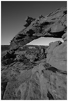 Graceful span of Sunset Arch, early morning. Grand Staircase Escalante National Monument, Utah, USA ( black and white)