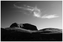 Dance Hall Rock and cloud. Grand Staircase Escalante National Monument, Utah, USA ( black and white)