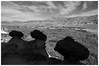 Short caprocks overlooking Wahweap Wash. Grand Staircase Escalante National Monument, Utah, USA ( black and white)