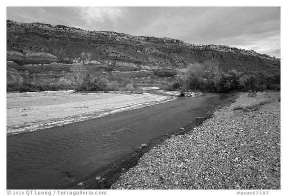 Paria Riverbanks, Old Pahrea. Grand Staircase Escalante National Monument, Utah, USA (black and white)