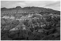 Chile formation badlands at dusk. Grand Staircase Escalante National Monument, Utah, USA ( black and white)