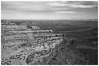 Valley of the Gods and cliff from edge of Cedar Mesa. Bears Ears National Monument, Utah, USA ( black and white)