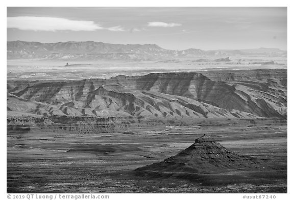 Valley of the Gods from above. Bears Ears National Monument, Utah, USA (black and white)