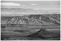Valley of the Gods from above. Bears Ears National Monument, Utah, USA ( black and white)