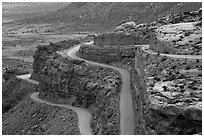 Moqui Dugway graded dirt switchback road. Bears Ears National Monument, Utah, USA ( black and white)