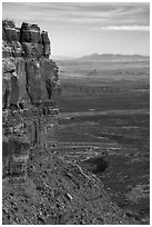 Cliff edge of Cedar Mesa and Valley of the Gods from Moki Dugway. Bears Ears National Monument, Utah, USA ( black and white)