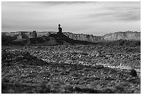Valley of the Gods with Cedar Mesa Cliffs. Bears Ears National Monument, Utah, USA ( black and white)