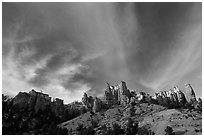 Hoodoos and clouds, Red Canyon, Dixie National Forest. Utah, USA (black and white)