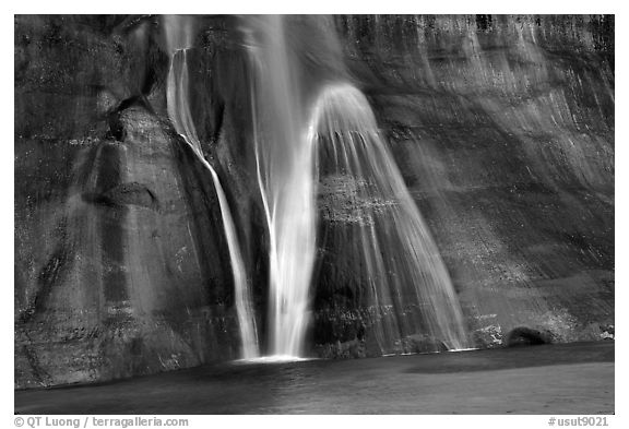Lower Calf Creek Falls, Grand Staircase Escalante National Monument. Utah, USA (black and white)
