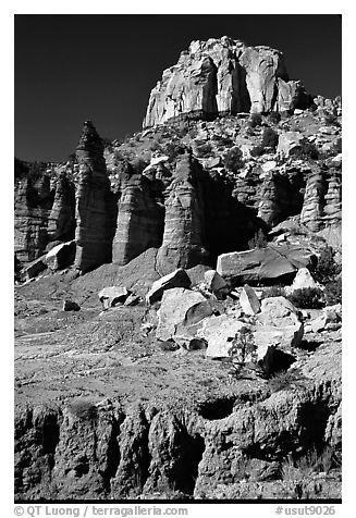 Tall multicolored cliffs, Burr Trail, Grand Staircase Escalante National Monument. Utah, USA (black and white)