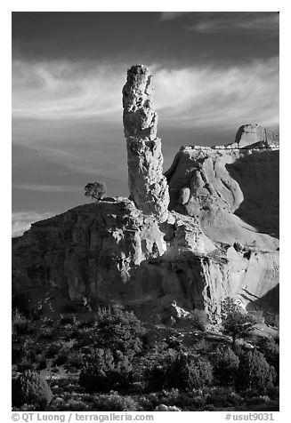 Chimney Rock, the largest sand pipe, sunset, Kodachrome Basin State Park. Utah, USA (black and white)