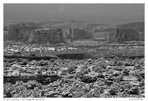 Cliffs in recent snow, San Rafael Swell. Utah, USA (black and white)