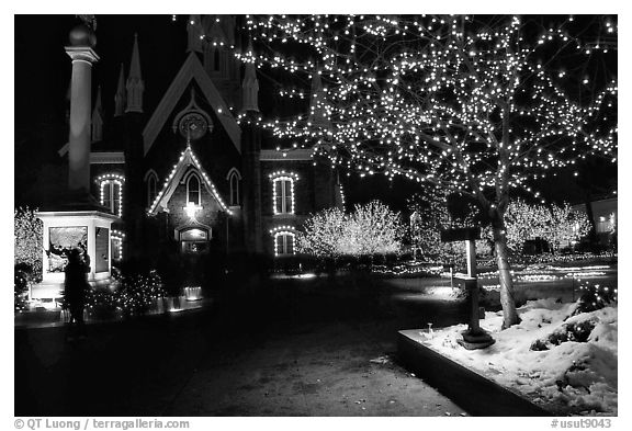 Black And White Picture Photo Temple Square With Christmas LightsSalt Lake City Utah USA