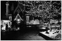 Temple Square with Christmas lights,Salt Lake City. Utah, USA (black and white)