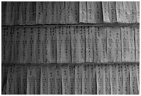 Prayer labels with names written in Chinese characters. Cholon, District 5, Ho Chi Minh City, Vietnam ( black and white)