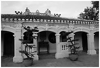 Low profile exterior of the Giac Vien Pagoda, district 11. Ho Chi Minh City, Vietnam ( black and white)