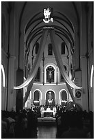 Christmas night mass, Cathedral St Joseph. Ho Chi Minh City, Vietnam (black and white)