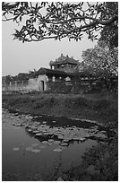 Imperial library at dusk, citadel. Hue, Vietnam (black and white)