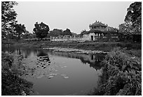 Imperial library and pond, citadel. Hue, Vietnam (black and white)