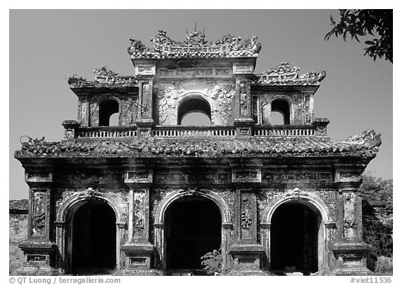 Gate, Hue citadel. Hue, Vietnam (black and white)