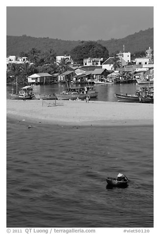 Basket boat, beach and harbor, Duong Dong. Phu Quoc Island, Vietnam (black and white)