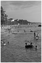 Water play on Long Beach, Duong Dong. Phu Quoc Island, Vietnam (black and white)