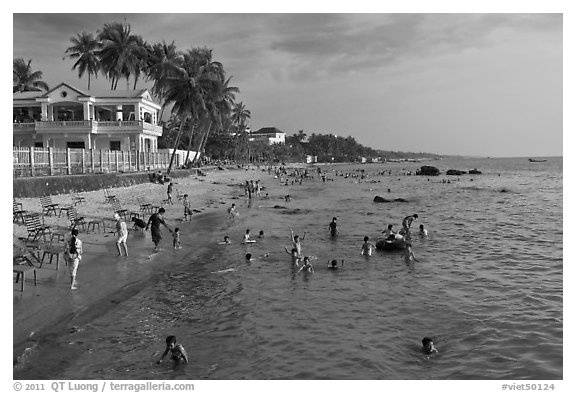 Long Beach, Duong Dong. Phu Quoc Island, Vietnam (black and white)