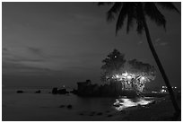 Cau Castle at night. Phu Quoc Island, Vietnam ( black and white)